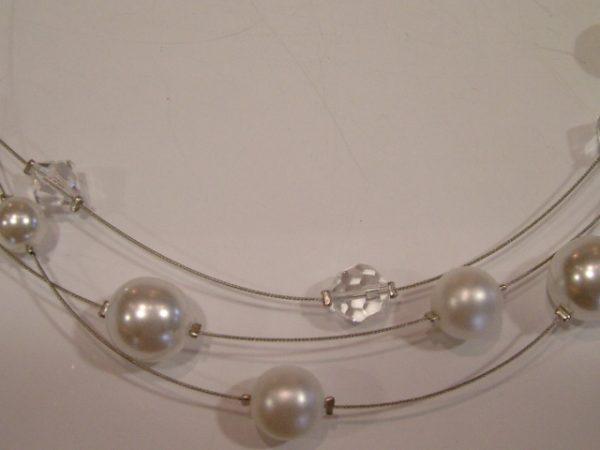 3873SH0w Halskette weiße Perlen