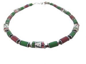 7671KH9 Halskette Krisho dunkelrot-grün