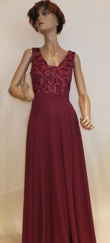 7720SK9 Abendkleid bordeaux Gr 40