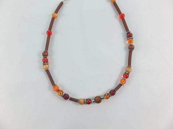 6278KH6 Halskette orange-braun