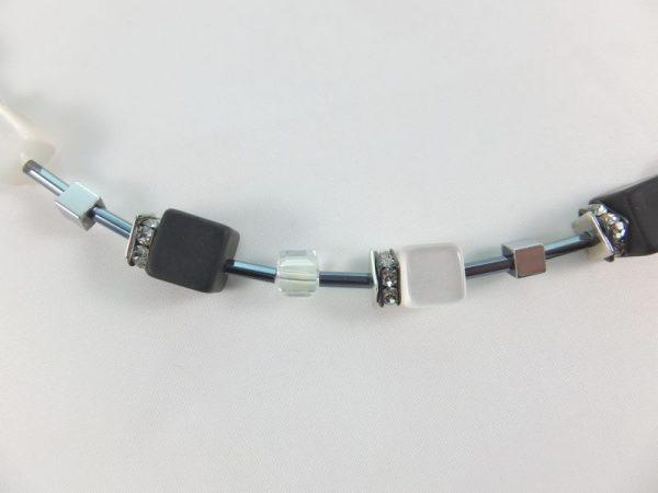 6414KH6 Halskette schwarz-weiß