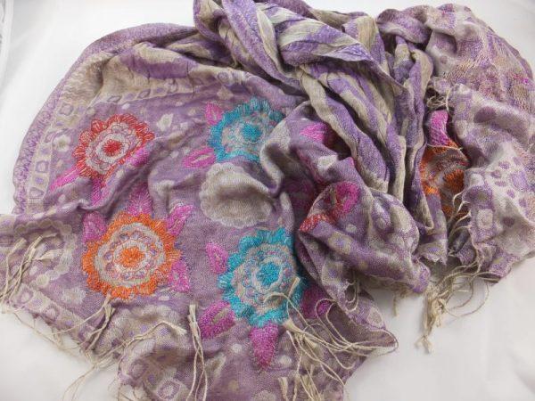 4988PS21 Seidenstola violett-bunt