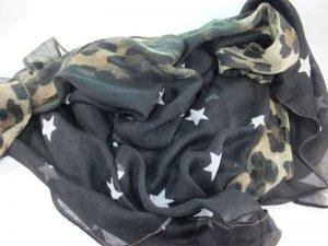 5866PS411 Tuch Passigatti schwarz Sterne