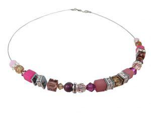 8117PH9 Halskette Würfel pink