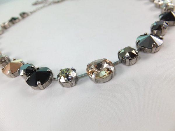 8115PH9 Halskette mit Swarovsiki Elements schwarz-kupfer Mix