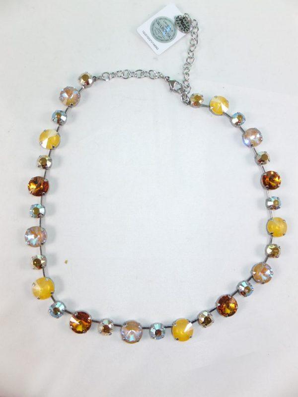 8113PH9 Halskette mit Swarovsiki Elements curry-ocker Mix
