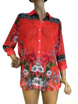 8179WB0 Bluse rot mit Strassverzierung Gr 36