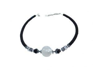 7182HK7C Halskette Kugel schwarz-weiß