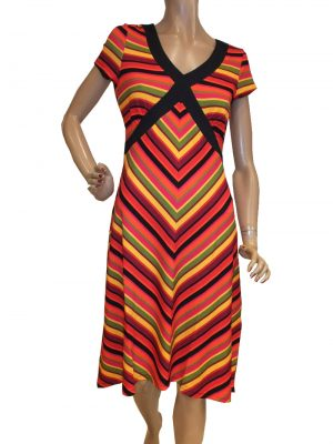 8204LK0 rot-gelb Kleid Lalamour Gr 38