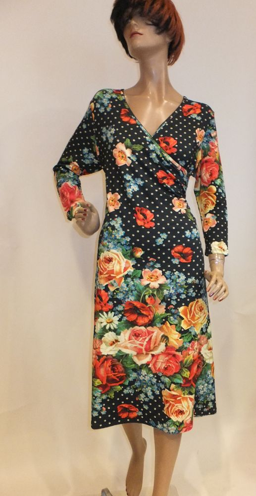 8189LK0  schwarz-bunt Kleid Lalamour Gr 40