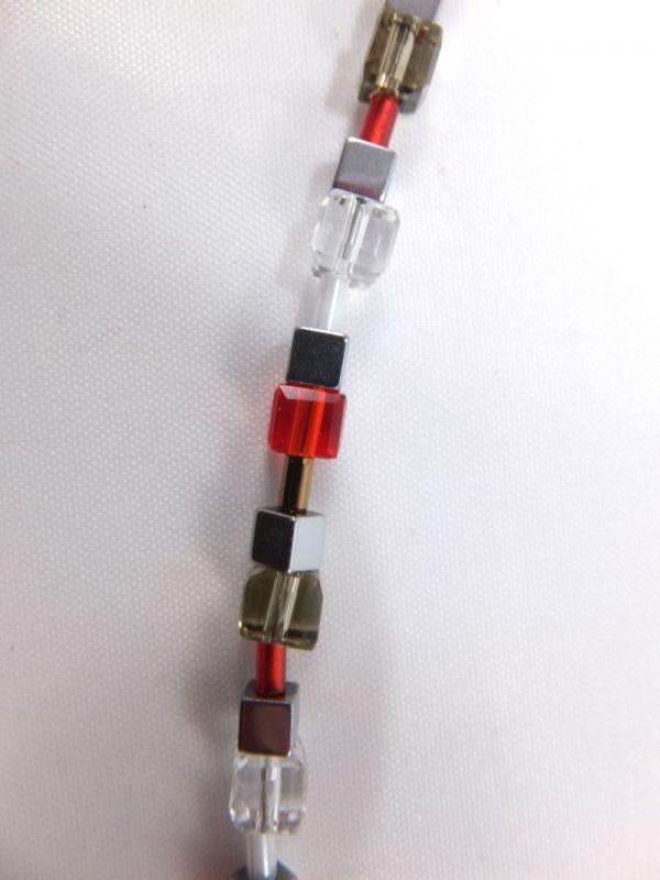 6834KH6 Würfelkette rot-grau