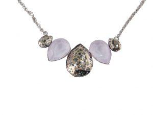 6717EH6rose  Halskette mit hochwertigen Glaskristallen