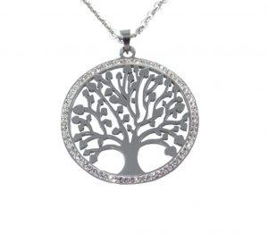 6823CH6silb Halskette Lebensbaum
