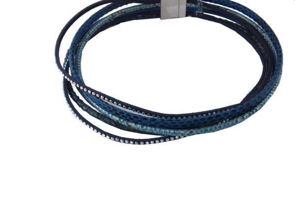 6817CA6blau Leder-Arm-oder Halsband mit SWAROVSKI Elements