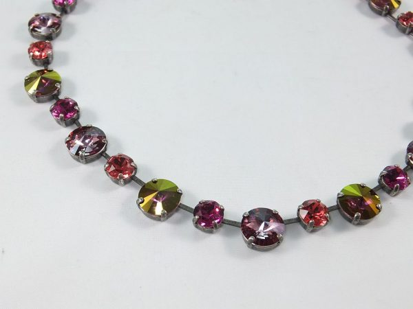 7238PH8EHalskette mit SWAROVSKI Elements pink-grün