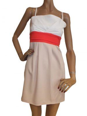 7302BK8 Kleid weiß-rose-rot Gr 36 und 38