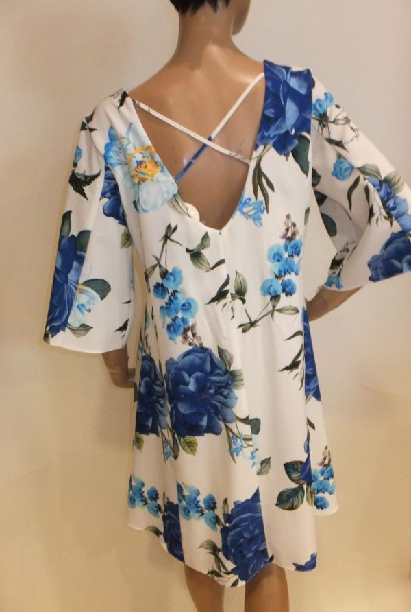 7294BK8 Kleid blau-weiß Rinascimento Gr 40