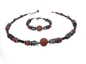 6278KH5SETschwarz-rotbraun Halskette Armband Set