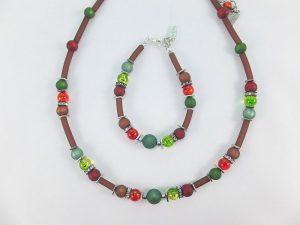 6278KH5SETbordeaux-grün Halskette Armband Set