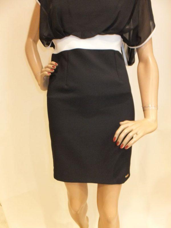 7511BK8Kleid schwarz-weiß Gr. 38 u 40